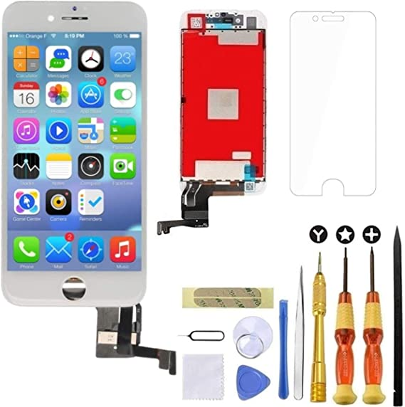 White Screen Replacement for iPhone 7 White LCD Display Touch Screen Digitizer Replacement Full Assembly Set with Free Tools and Professional Glass Screen Protector for iPhone 7 4.7 Inch