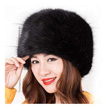 3e927375 FRISTONE Ladies Winter Faux Fox Fur Hat Winter Warm Cap of Russian Cossack  Style,Black: Amazon.co.uk: Sports & Outdoors