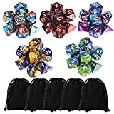Product picture for CiaraQ 35 Pieces Polyhedral Dice, Double-Colors Polyhedral Game Dice with 5 Pack Black Pouches for RPG Dungeons and Dragons Pathfinder DND RPG MTG D20 D12 D10 D8 D4 Table Game by Wizards RPG Team