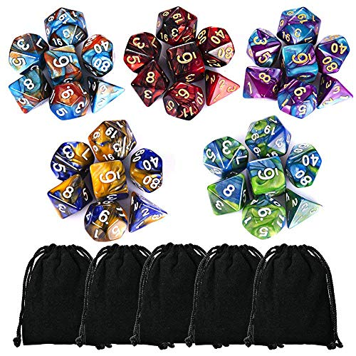 CiaraQ 35 Pieces Polyhedral Dice, Double-Colors Polyhedral Game Dice with 5 Pack Black Pouches for RPG Dungeons and Dragons Pathfinder DND RPG MTG D20 D12 D10 D8 D4 Table Game ()