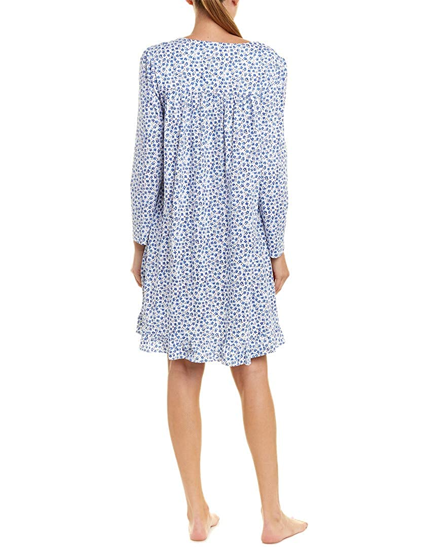 Eileen West 100% Cotton Knit Short Gowns - Long Sleeve Nightgown in  Chivalry Blossom (White Blue Ditsy 05e1ebdf2