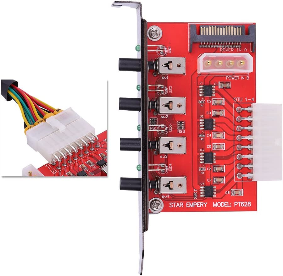High-Current Power Management Chip Power Supply of Four SATA Devices Mugast 4 Channel HDD Power Switch with Indicator Light Support PCI or PCI-E Baffle
