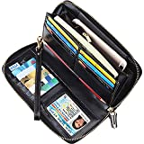 Dante RFID Blocking Wax Real Leather Zip Around Wallet Clutch Large Travel Purse for Women(Black)