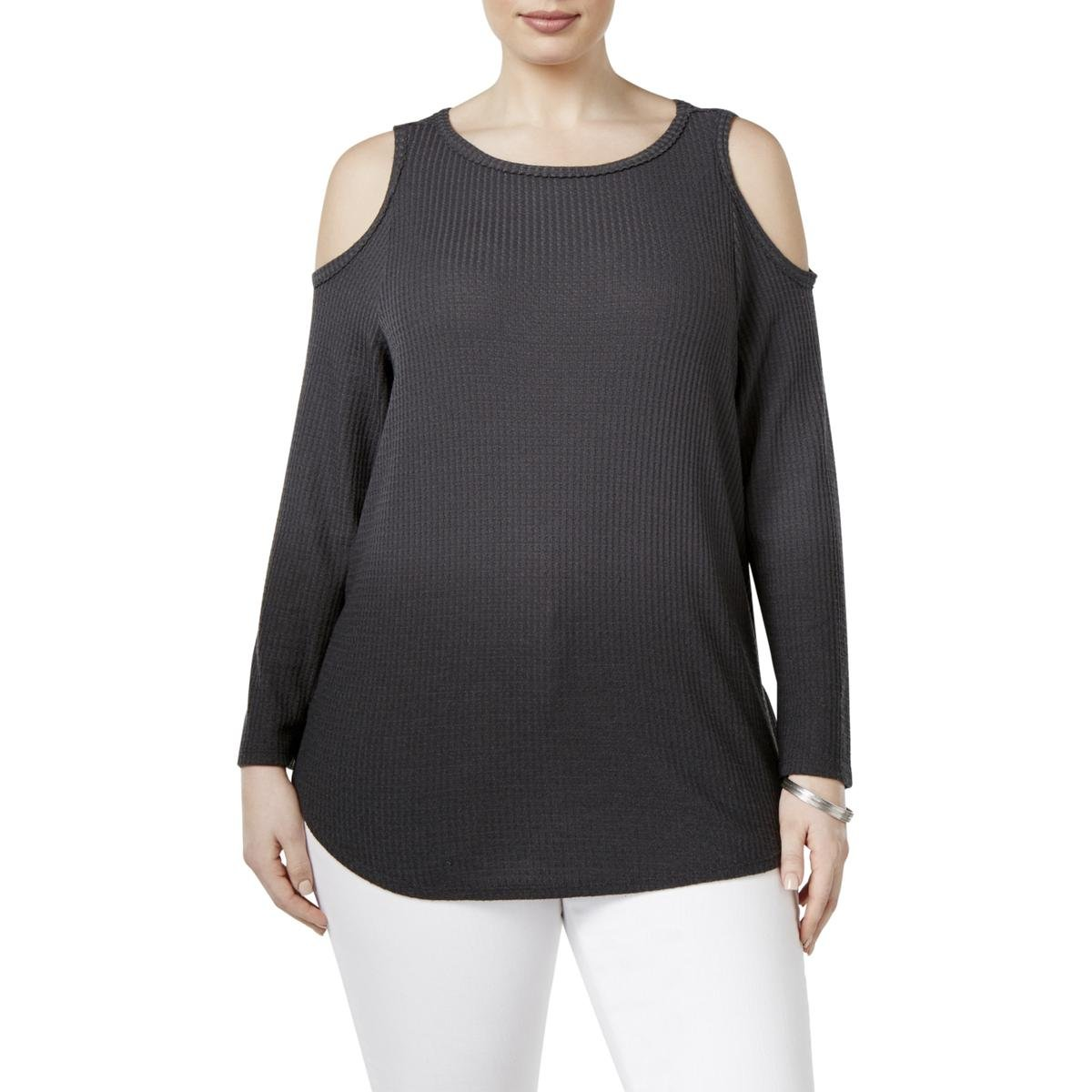 Style & Co. Womens Plus Jewel Neckline Cold Shoulder Pullover Sweater Black 3X
