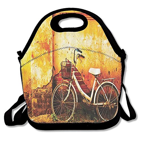 ZYGCMYX Lunch Bag Thermal Carrying Gourmet Lunch Box Containers for Women Men Teen Girls Boys Kids - Bicycle Bike in Broken Brick Wall