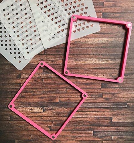 Cookie Stencil Decorating Frame Beginner Kit Set - American Confections - Polkadot, Hearts, Chevron, Stripes, Stars - Set of 6