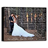 Personalized Wedding Photo Canvas Print with First Dance Lyrics, Vows, Poem, Quotes