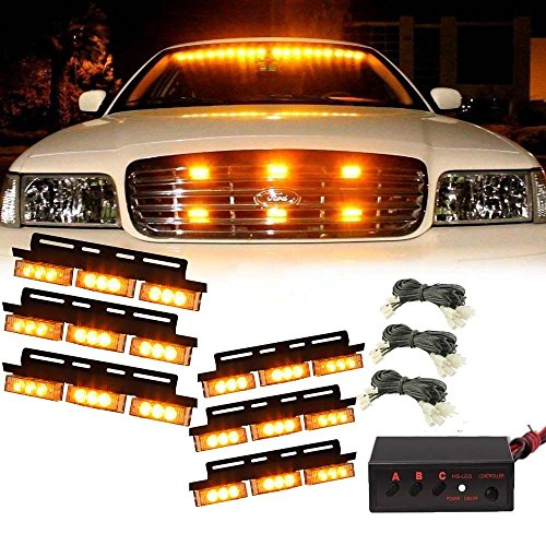CHAMPLED New 36 LED Amber Car Emergency Warning Light Bar Traffic Advisor Strobe Flash Lamp For FORD CHRYSLER CHEVY CHEVROLET DODGE CADILLAC JEEP GMC PONTIAC HUMMER LINCOLN - Square Hours Suburban