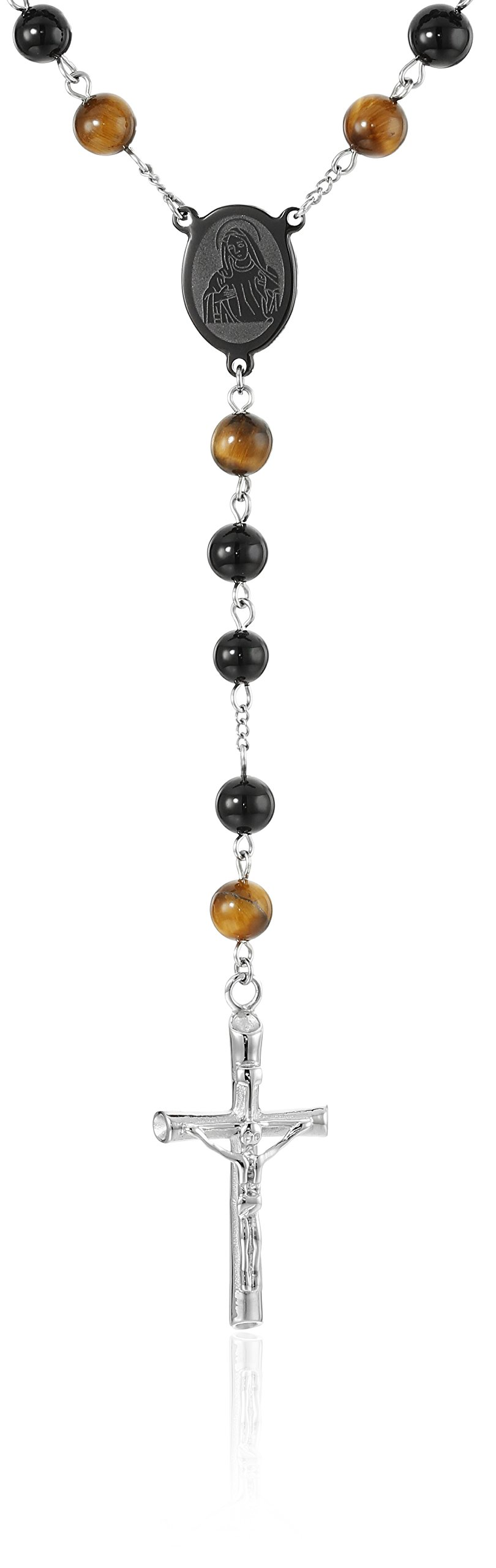 Cold Steel Rosary Necklace with Tiger Eye Necklace, 28''