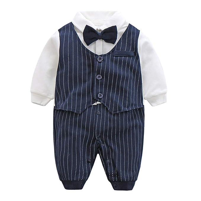 Fairy Baby Newborn Boys Gentleman Romper Outfit with Bow Tie,6-9M,Navy Blue Stripe