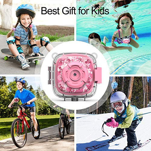AKAMATE Kids Action Camera Waterproof Video Digital Children Cam 1080P HD Sports Camera Camcorder for Boys Girls, Build-in 3 Games, 32GB SD Card (Pink) by AKAMATE (Image #6)
