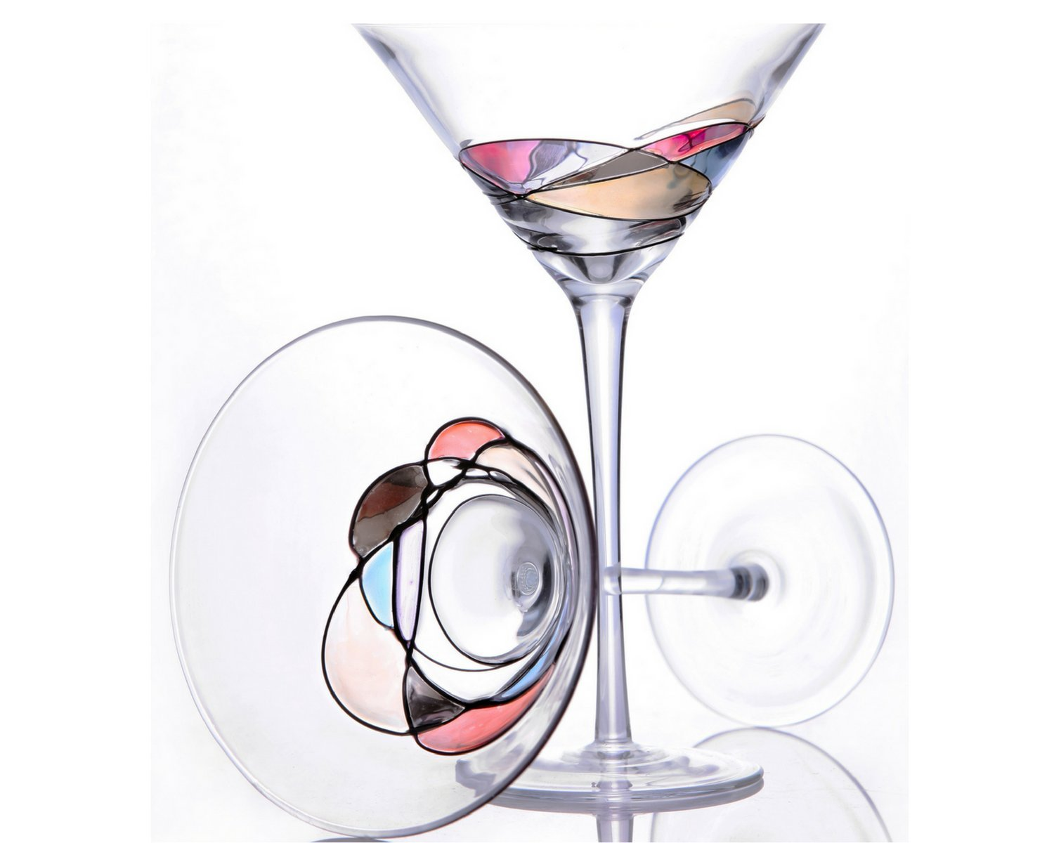 Handcrafted and Painted Martini Glasses by Sonoma Artisan, Set of 2. Ideal for Casual Entertaining, Unique Gift Idea, Romantic Night in, or Just Elevating Your Cocktail Enjoyment GreaterGoodz