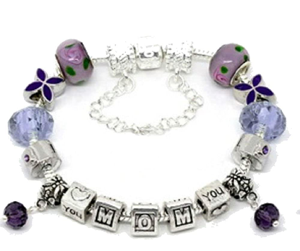 Buckets of Beads Mothers Day Inspired I Love You Mom Charm Bracelet For Women and Girls