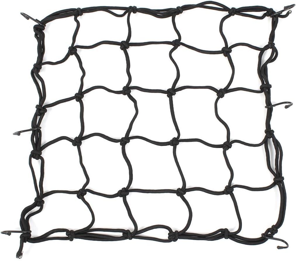 uxcell Black Hook Motorcycle Elastic Mesh Luggage Cargo Tuck Web Net 40cm x 40cm