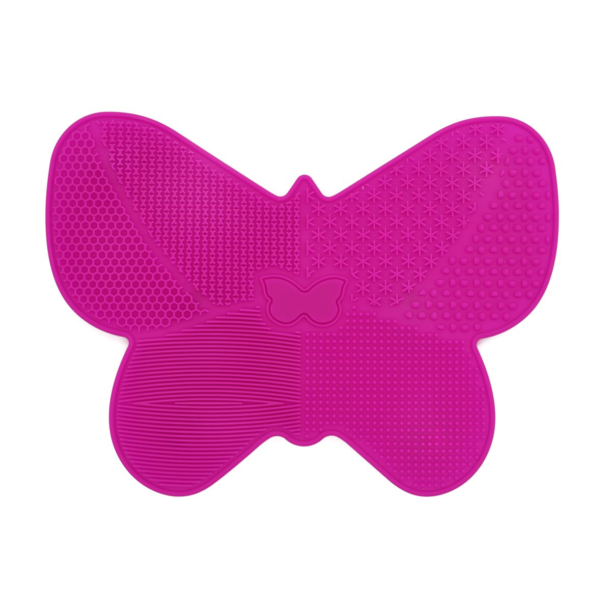 Makeup Brushes Cleaning Mat, Butterfly Shape Makeup Brush Cleaner Pad with Suction Cup Rose Red Gobuying