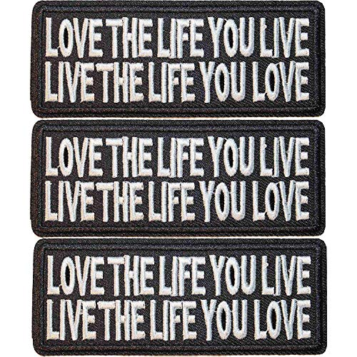 U-Sky Sew or Iron on Clothing Patches - Love The Life You Live, Live The Life You Love Slogan Words Patch for Motorcycle Biker Jackets, Jeans, Vest, Backpacks - Pack of 3pcs - Size: 3.97x1.57 Inch from U-Sky