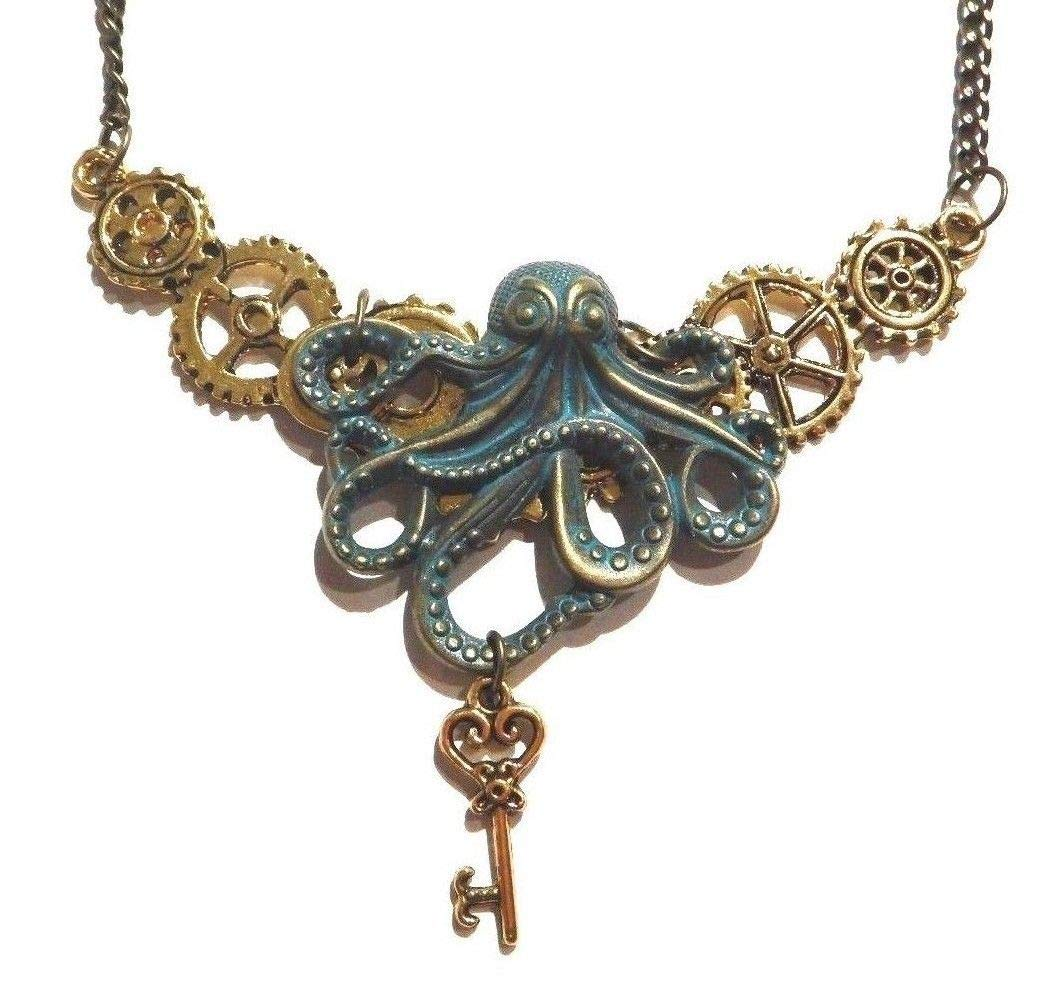 Handmade Steampunk Bronze & Golden Octopus Gears & Skeleton Key Bib Necklace Industrial Clockwork cogs Kraken Pirate 3