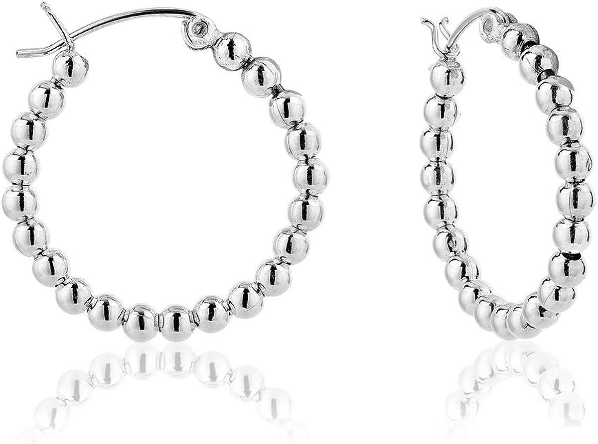 DTP Silver - Pendientes de Aro de mujer - Creoles con bolas - Plata 925 - Espesor 3 mm - Diámetro 25, 30, 40, 50 mm
