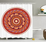 Animal Shower Curtain  by Ambesonne, Round Pattern with Elephants Meditation Faith Ethnic Tribal Inspired, Fabric Bathroom Decor Set with Hooks, 70 Inches, Ruby Orange Cream Apricot