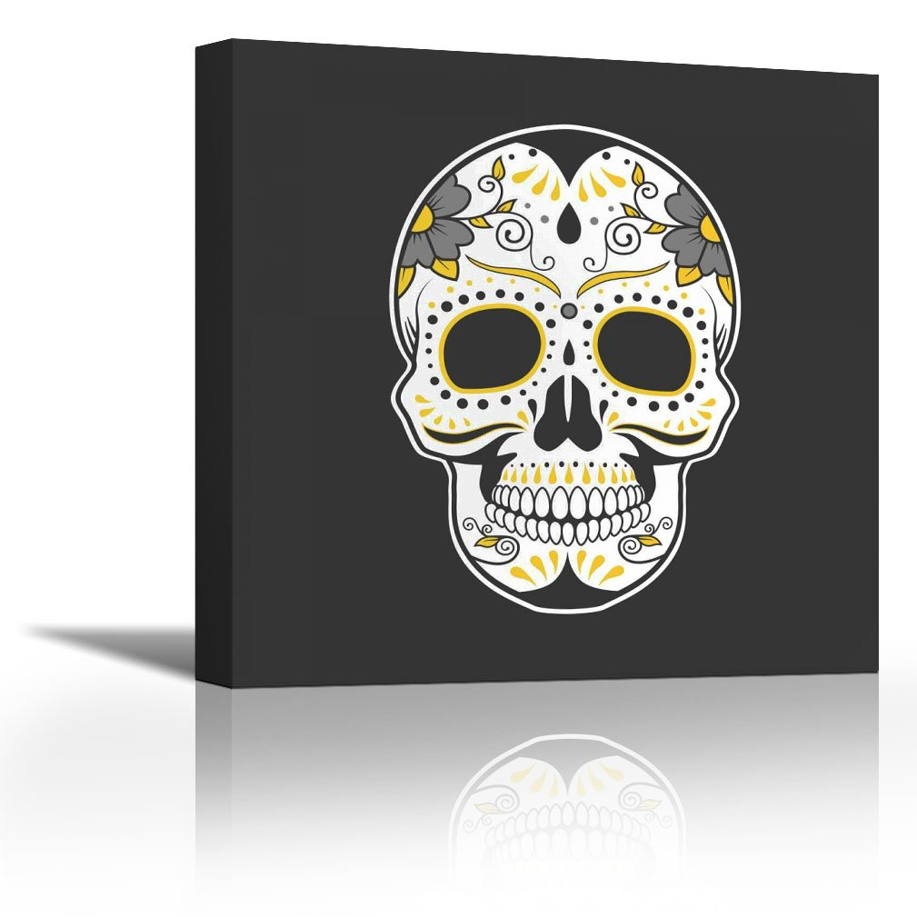 Karmakara Mexican Sugar Skull Art Fine Art Print On Fine Art Canvas Stretched Gallery Wrap Style Wall Decor Painting Living Room Bedroom Drawing Room Ready To Hang Print 20 X 20