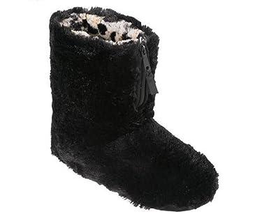 Dearfoams Womens Pile Boot Slipper with Zipper Small Black
