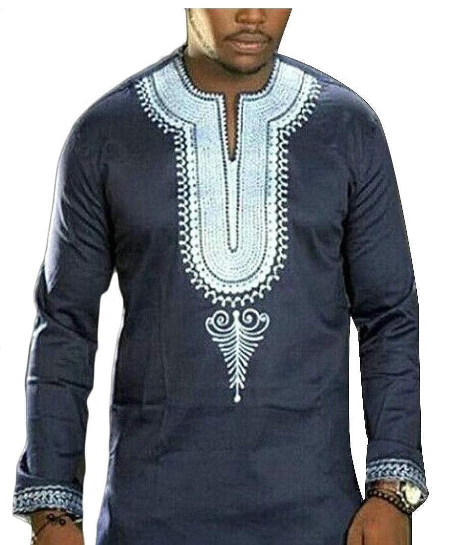 WSPLYSPJY Mens African Print Dashiki Long Sleeve Autumn Loose Shirt Tops Blouse