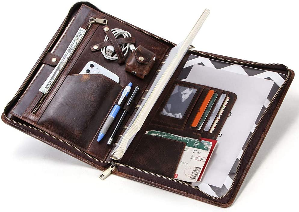 """Handmade Crazy Horse Leather Business Portfolio Padfolio Folder with Zipper for Men, Men's Leather Padfolio Folder for 12"""" Laptop, Business Portfolio with Letter Size Notepad & Handles"""