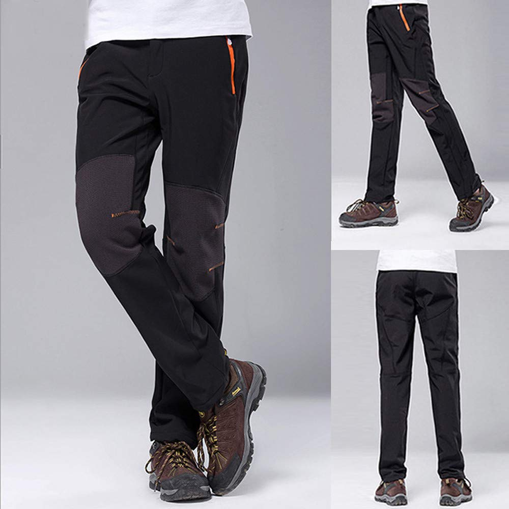 Gergeos Hiking Pants For Men - Waterproof Windproof Outdoor Fleece Warm Thick Climbing Trousers with Pockets(Black,Large) by Gergeos (Image #6)