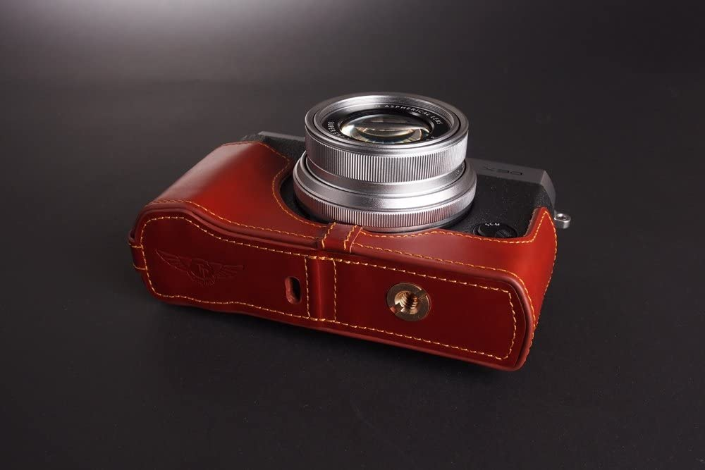 Handmade Genuine real Leather Full Camera Case bag cover for FUJIFILM X30 Bottom Opening Version Brown color