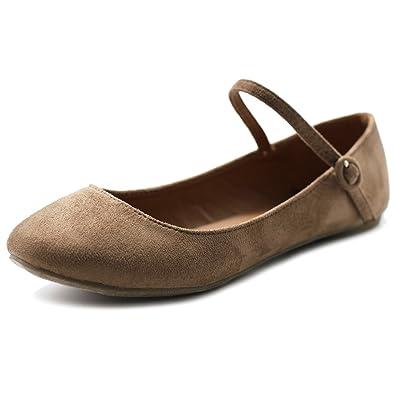 Ollio Women s Shoe Ballet Light Faux Suede Mary Jane Flats MG16(6.5 B(M
