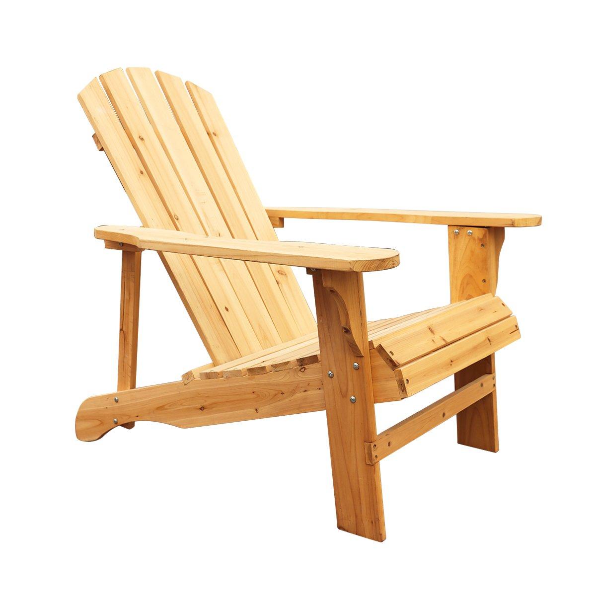California Backyard Patio Furniture.Lokatse Home Wood Single Adirondack Chair Natural