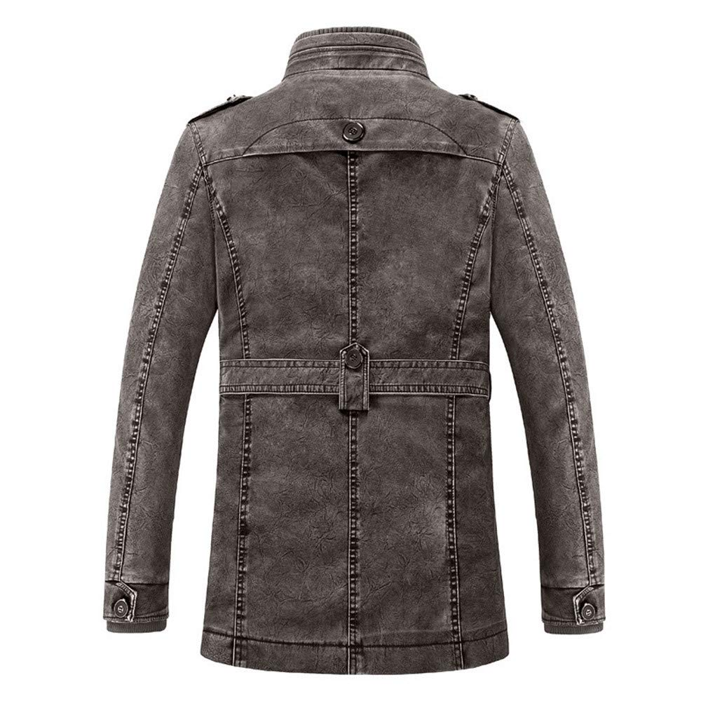 Mens Faux Fur Coat,Mens Winter Thermal PU Leather Jacket Top Coat,Jackets for Men