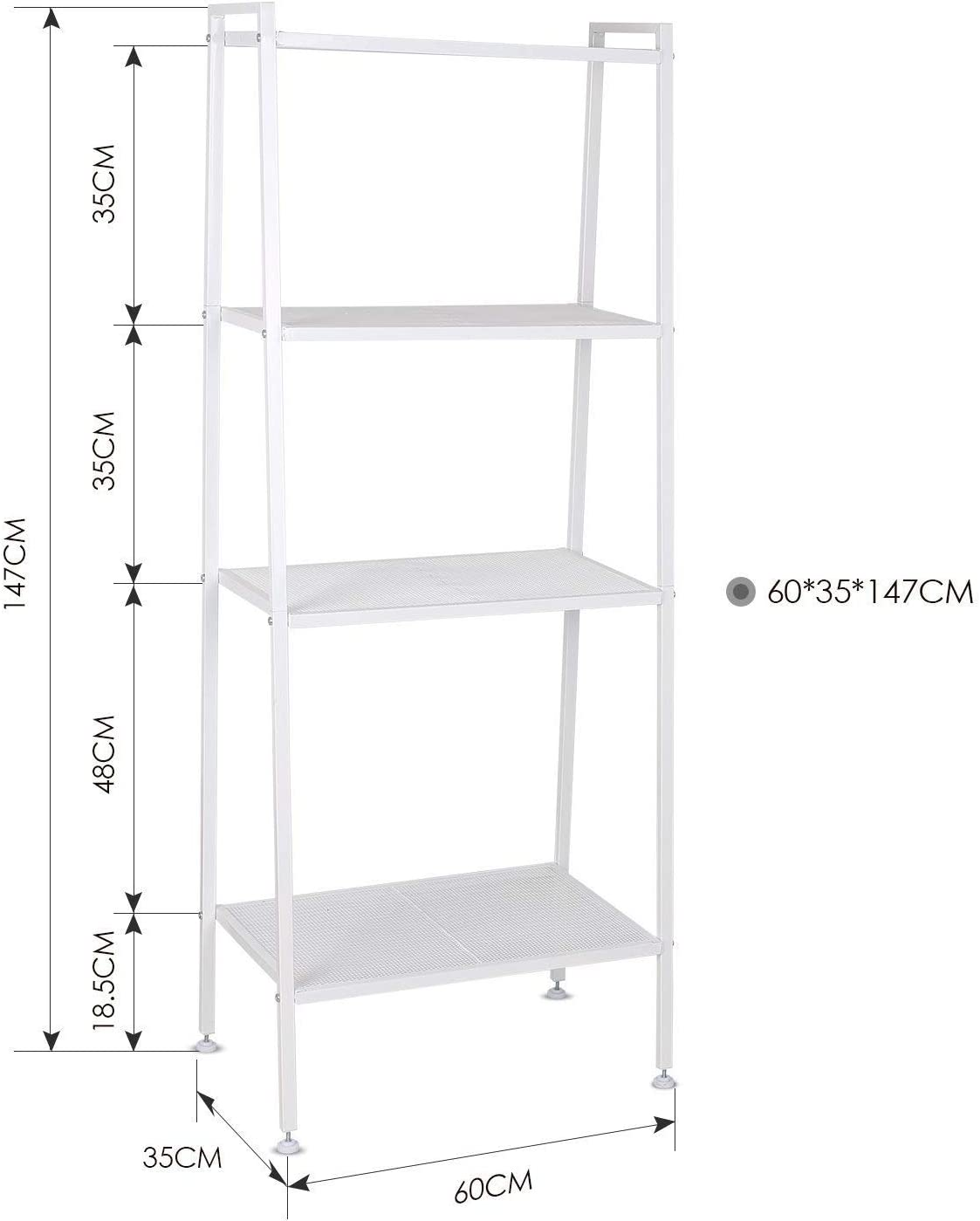 Homfa Estantería de Escalera Estantería Metálica para Baño Salón Terraza con 4 Niveles de Malla de Color Blanco 60x35x147cm: Amazon.es: Hogar