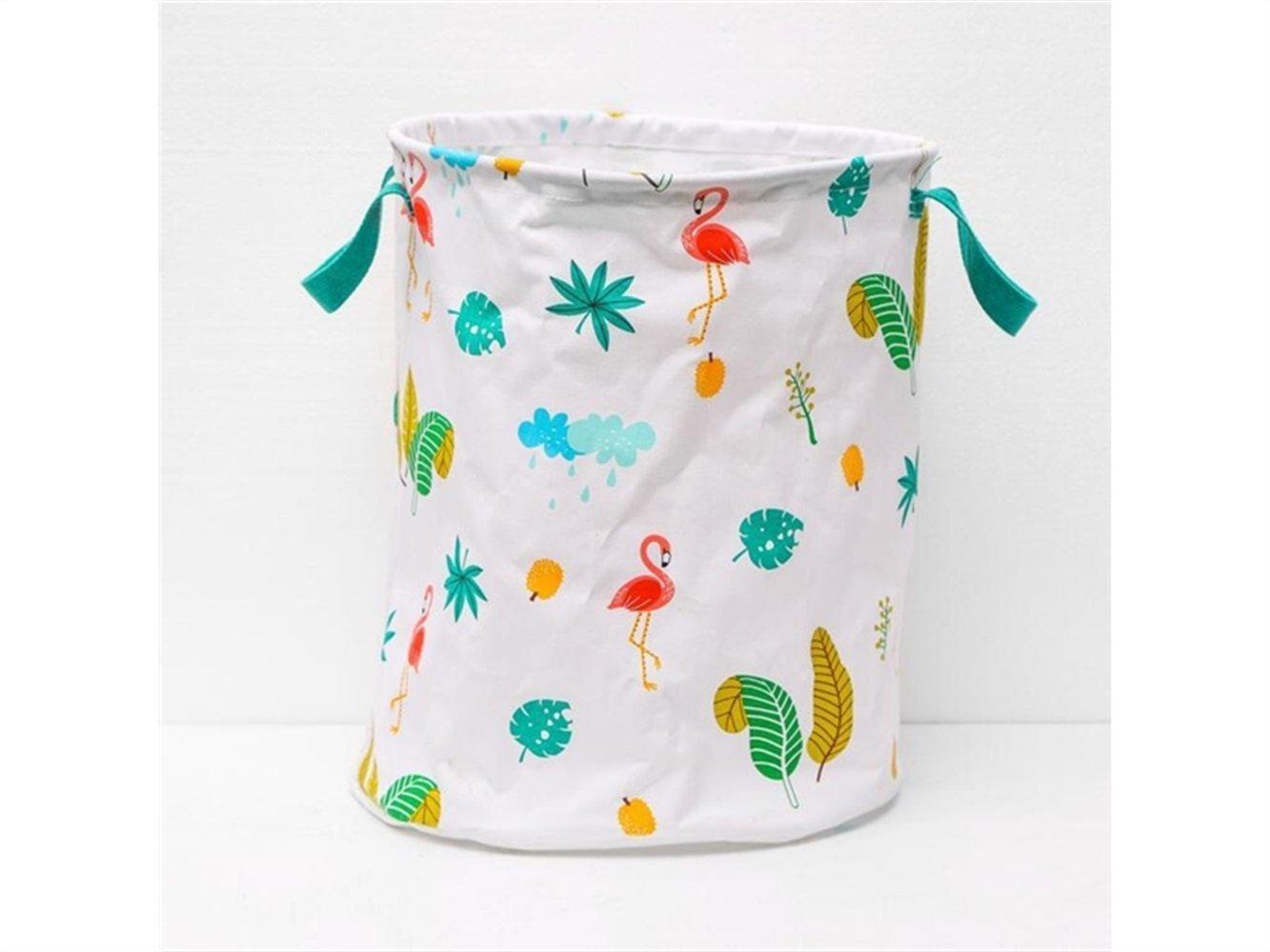 Gelaiken Lightweight Flamingo Pattern Storage Bucket Cotton and Linen Bucket Sundries Storage Bucket(White)
