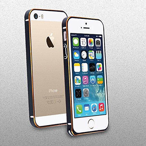 sports shoes 1ae7f b9850 Apple iPhone 5 5S Aluminium Bumper Frame Case Cover with Hippo Buckle -  Black/Gold