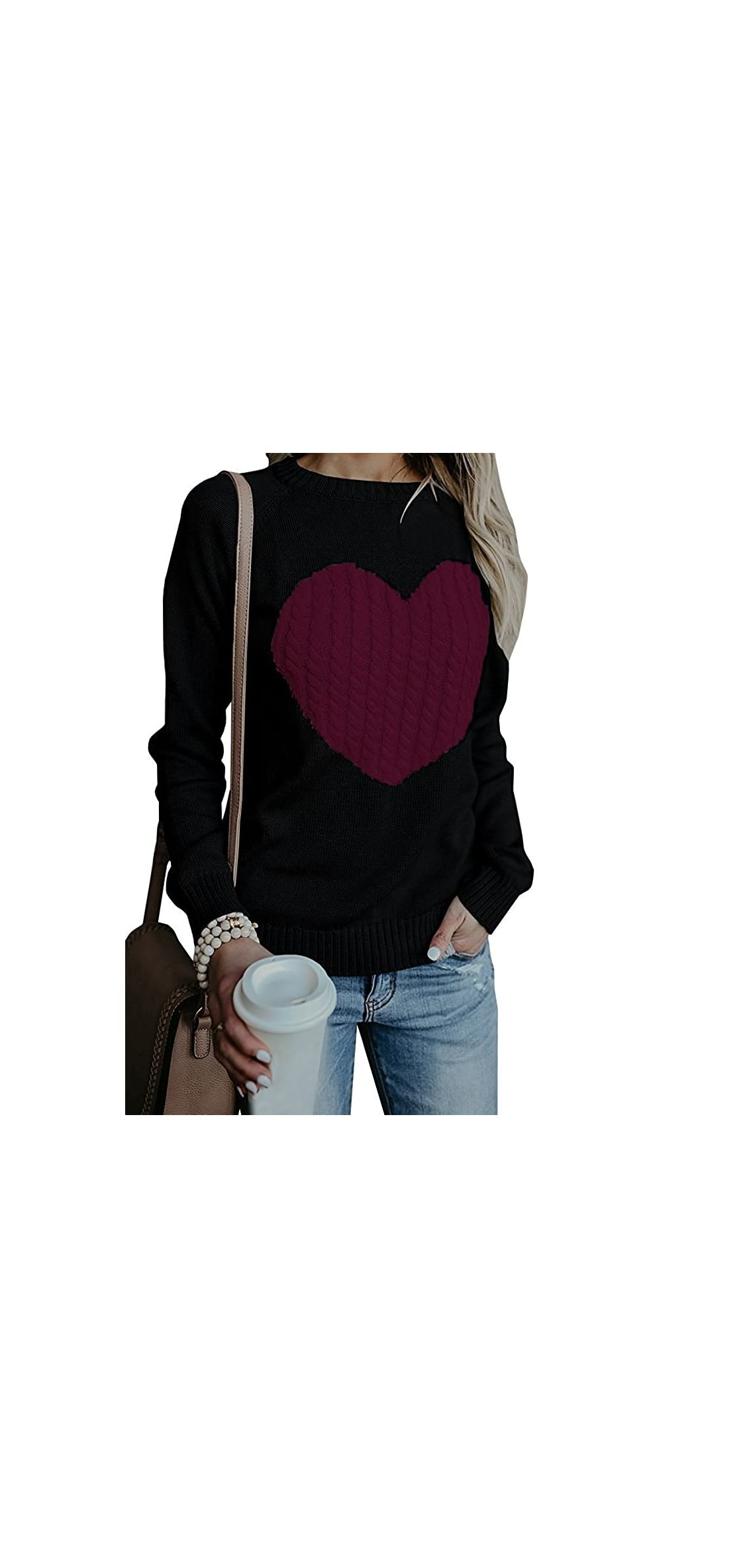 Women's Cute Heart Cable Chunky Knit Pullover Sweater
