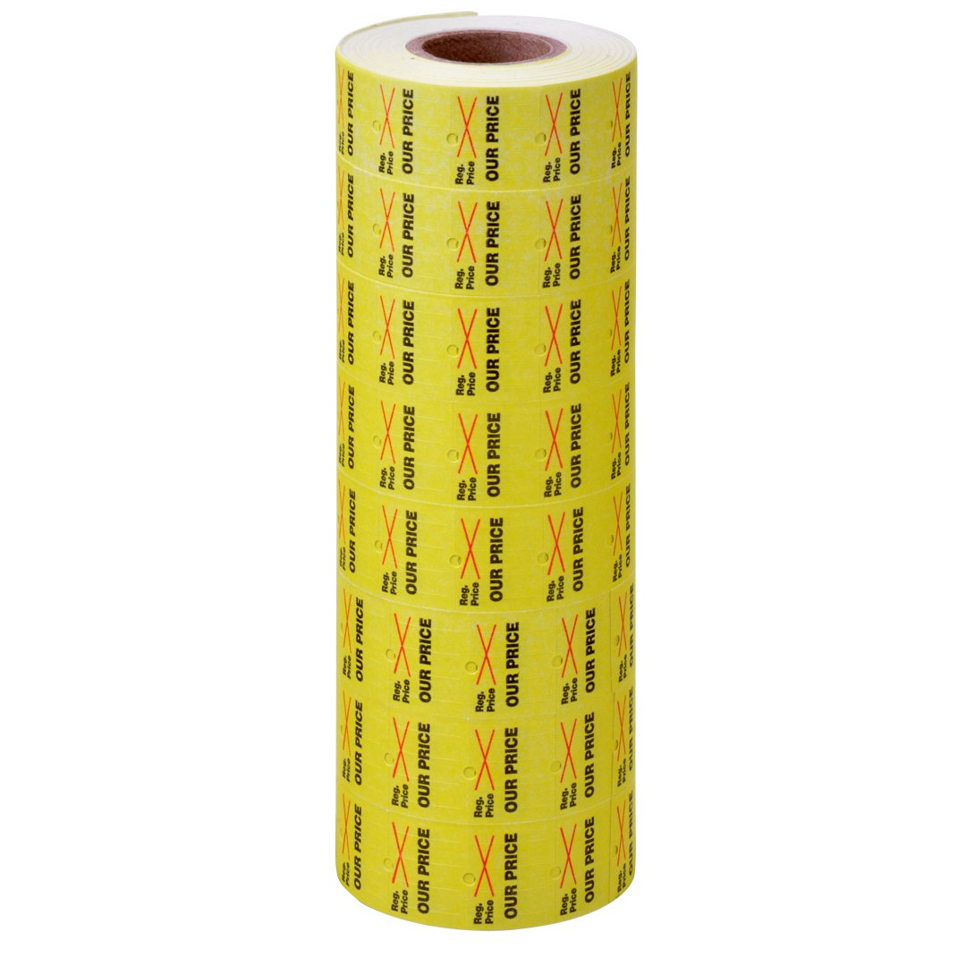 Yellow with Black Regular Price/Our Price and Red X Labels to fit TowaGL/SpeedyMark4/Halmark Model L Price Guns 16 Pack (Free Ink Roll Included) by Kenco (Image #1)