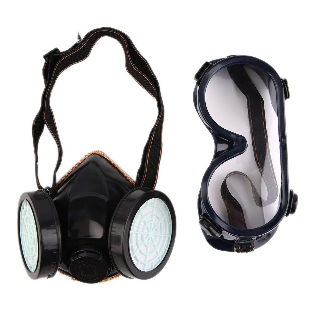 Nuevo Filtro de Protecció n Doble Má scara de Gas Quí mico Gas Anti Polvo Pintura Respirador Mascarilla con Gafas de Seguridad Industrial al Por Mayor UniqueHeart
