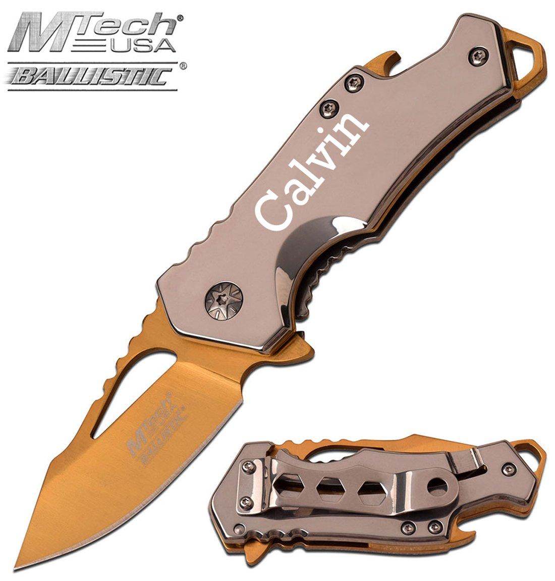 Elk Ridge Free Engraving - MTech USA Stainless Steel Knife Wodden Handle Folding Knife (MT-A882SGD)
