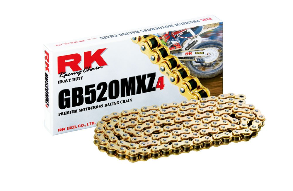 RK Racing Chain GB520MXZ4-104 104-Links Gold MX Chain with Connecting Link