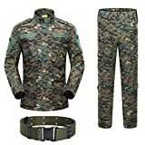 H World Shopping Military Tactical Mens Hunting Combat BDU Uniform Suit Shirt & Pants with Belt Woodland Digital AOR2