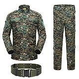 H World Shopping Military Tactical Mens Hunting Combat BDU Uniform Suit Shirt & Pants with Belt Woodland Digital AOR2 (S)