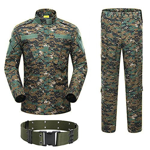 H World Shopping Military Tactical Mens Hunting Combat BDU Uniform Suit Shirt & Pants with Belt Woodland Digital AOR2 (M)