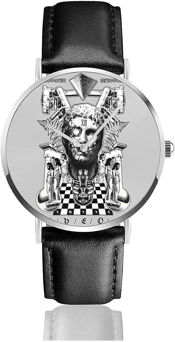 Unisex Business Casual Theos Greek Statue Collage Relojes Reloj de Cuero de Cuarzo