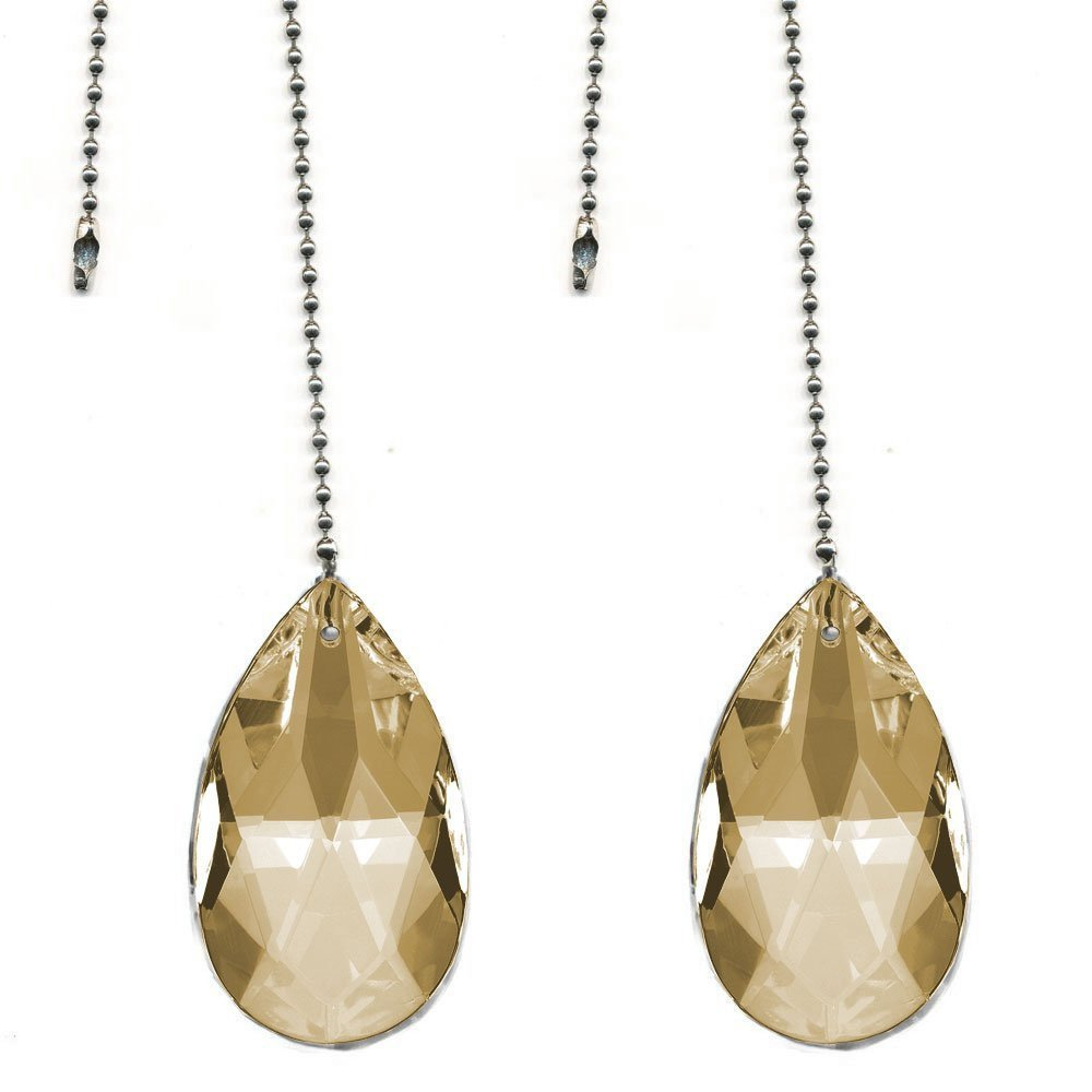 Magnificent crystal 50mm (2'') Honey Crystal Almond Prism 2 Pieces Dazzling Crystal Ceiling FAN Pull Chain