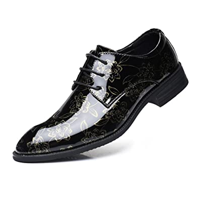 Mens PU Leather Shoes Smooth Flower Pattern Upper Lace Up Lined Low Top Oxfords,Very Stylish Color : Red, Size : 6.5 M US