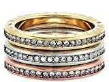 Michael Kors Iconic Haute Hardware Tri-Tone and Pavé Logo Grommet Stackable Ring, Size 7