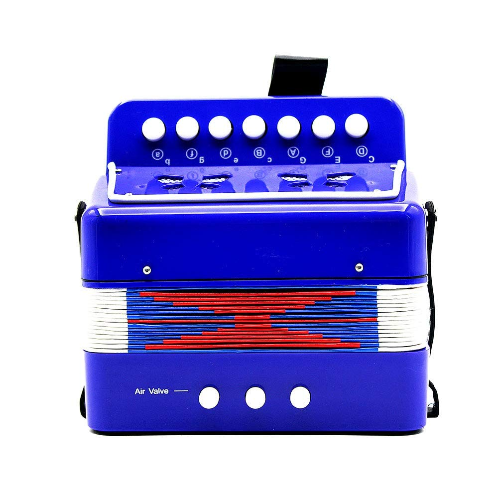 Accordion Mini Size Portable Kids Accordion with Straps 7 Keys 2 Bass Beginners Students Music Accordion Instruments Small Educational Band Musical Toys Children's Gift by Ybriefbag-Musical Instruments (Image #4)