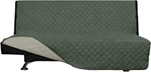 Easy-Going Futon Sofa Slipcover Reversible Sofa Cover Armless Futon Cover Furniture Protector Couch Cover Water Resistant PetsKidsChildrenDogCat(Futon,Greyish Green/Beige)