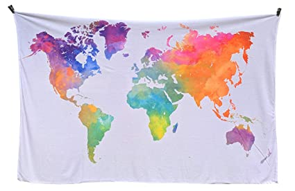 World Map Tapestry - Watercolor World Tapestry Map | Globe Tapestry on